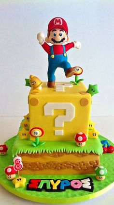Marvelous Photo of Super Mario Birthday Cake Tolles Foto von Super Mario Geburtstagstorte. Super Mario Party, Super Mario Bros, Mario Bros Cake, Luigi Cake, Bolo Do Mario, Bolo Super Mario, Super Mario Cupcakes, Mario Birthday Cake, Super Mario Birthday