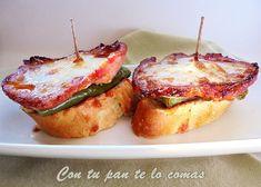 Con una base de pan podemos hacer montaditos de todo lo que queramos. Estos de lomo y pimiento verde del blog CON TU PAN TE LO COMAS, son un ejemplo fantástico.