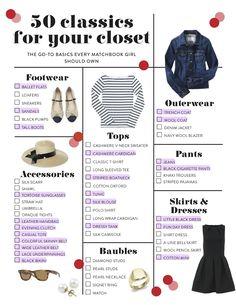 50 classics for your closet (Capsule wardrobe) Look Fashion, Fashion Beauty, Womens Fashion, Fashion Tips, Fashion Check, Budget Fashion, Fashion Fall, Curvy Fashion, Fashion Trends