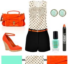 Aqua + Polka Dots + Tangerine…