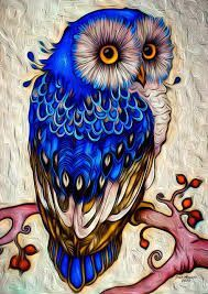 blue owl art  did you know that a group of owls is called a parliament!