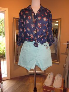 light blue jean shorts are so adorable with any shirt!!