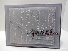 by Deb: Holly Jolly Greetings, Vellum, Silver Foil Paper, Woodland embossing folder, Christmas Greetings Thinlits - all from Stampin' Up!