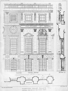 archimaps:  Facade details of Hampton Court Palace, England... From...  http://thefullerview.tumblr.com/post/59486688001/archimaps-facade-details-of-hampton-court