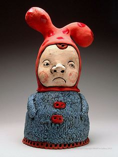 Tammy Marinuzzi whimsical figurative ceramics, pottery for sale at MudFire Gallery. Ceramic Figures, Ceramic Artists, Polymer Clay Creations, Polymer Clay Art, Contemporary Ceramics, Modern Ceramics, Ceramic Boxes, Jar Lids, Jars