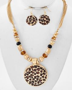 Gold Tone Metal / Black & Brown Glass Crystal / Gold Ccb (bead) / Clear Rhinestone / Lead Compliant / Leopard Print Pendant / Necklace & Fish Hook Earring Set