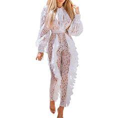 9e8dae9b80 DOINSHOP White Jumpsuit Women Party Sexy Long Sleeve Tie Neck Bandage Lace  Fold Overalls. PixBreak Fashion