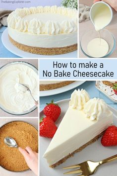 This No-bake Vanilla Cheesecake Is Topped With Your Favorite Fruits And A Drizzle Of Caramel Sauce! Plus, It's Made With A Homemade Browned Butter Graham Cracker Crust!. No Bake Vanilla Cheesecake, Cheescake Recipe, Baked Cheesecake Recipe, Cheesecake Desserts, No Bake Desserts, Dessert Recipes, Cake Recipes, Cake Lifter, Buttery Biscuits