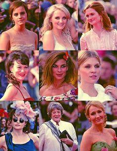 Emma Watson, Evanna Lynch, Bonnie Wright, Helen McCrory, Natalia Tena, Clemence Posey, Helena Bonham Carter, Maggie Smith, and the amazing J.K. Rowling!