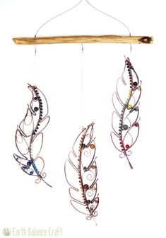 Feather Hanging Mobile with Copper Wire, Wood and Gemstones