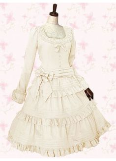 i'm in loooooove why isn't this normal fashion!? Cheap Sweet Square Long Sleeves Empire Cotton Lolita Dress With Bow Sale At Lolita Dresses Online Shop