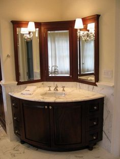 Elegant Corner Bathroom Vanity With Marble Sink Countertop Design