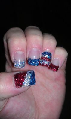 My 4th of july nails :-) (@Kenzie Iocco, these should be your 4th of July nails..super cute)