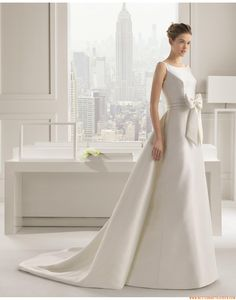 Aparte Exklusive Besondere Brautkleider aus Satin mit Schleife