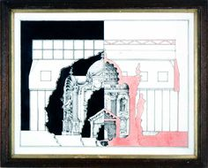 Pablo Bronstein Elevation And Interior Of Historic Building - 2005 Ink & gouache on paper in artist's frame 33 x cm Architecture Sketchbook, Architecture Collage, Elevation Drawing, Architecture Building Design, Collage Drawing, Drawing Interior, Galleries In London, Art Day, Contemporary Art