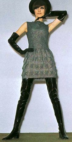 Dress, black patent boots and long gloves by Pierre Cardin