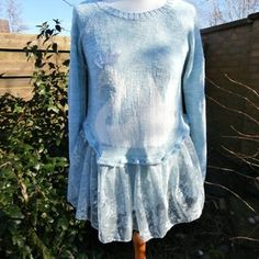 CLEARANCE SALE Upcycled Sweater Dress 'Tea Rose' Uk | Etsy Blue Stockings, Upcycled Sweater, Flower Shorts, Cotton Crochet, Tea Roses, Roll Neck, Ruffle Skirt, Black Knit, Embroidered Flowers