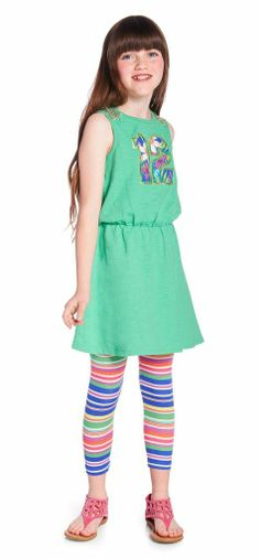 SPORTY STRIPES OUTFIT Sleeveless dress. Palm print #12 graphic with bold striped leggings. Perfect to wear under dresses.