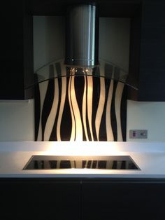 Bespoke charcoal and clear glass splash back. Clear Glass, Lamp, Lighting, Kitchen, Glass Kitchen, Projects To Try, Splash, Home Decor, Dream Kitchen