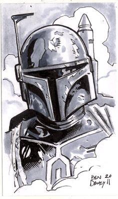 """""""Boba Fett"""" - Dewey Draws!: Star Wars Sketchcard Frenzy!"""
