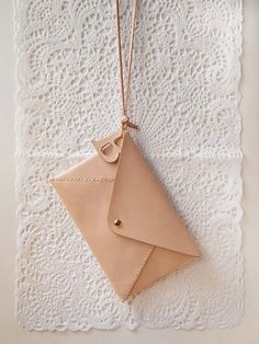 Personalized Envelope Clutch with Initial Letters - Leather - Nude - Hand Stitched