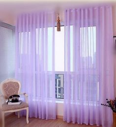 LQF Window Treatments Solid Voile Sheer Curtains  Scarf Drapes Panel Scarves Curtains  Grommet  Purple  W40 x L96 inch 1 Panel  >>> Click image to review more details. (Note:Amazon affiliate link)