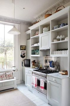 open shelves and cornice on top