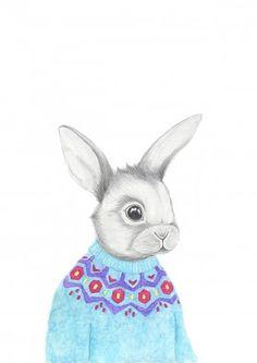 How sweet is this little rabbit by Kajsa Wallin? It's on a mini-poster in Flow Weekly 13-2015.