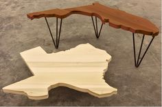 Texas State Table in Poplar and Florida State Table in Walnut State Coffee Tables!!