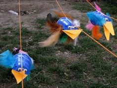 Races. We combined two ideas so made the rockets from here http://pinterest.com/pin/234609461807814632/ with the string race idea here but attached to string like these birds and with balloons taped on to propel the rocket along the string.  A heap of fun and kept a two year old friend in heaps of giggles for ages :)