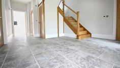 Regency Grey tumbled limestone floor tiles - we think these tiles work so well in this spacious entrance room! Limestone Flooring, Travertine Floors, Entrance, Tile Floor, Tiles, Entryway, Stairs, Regency, Room