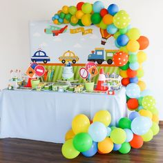 No automatic alt text available. Cars Trucks Birthday Party, Transportation Birthday, 2nd Birthday Party Themes, 1st Boy Birthday, Boy Birthday Parties, Birthday Party Decorations, Vintage Jeep, Lightning Mcqueen, Disney Cars