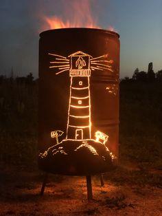 Custom Fire Pit, Metal Art, Table Lamp, Lighting, Fire Pit Designs, Welding Art Projects, Pretty Lights, Milk Churn, Lighthouse
