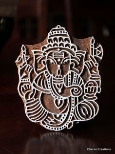 Items similar to Hand Carved Indian Wood Textile Stamp Block- Ganesha on Etsy Kirigami, Zentangle, Ancient Indian Art, Marquesan Tattoos, Art Nouveau, Textiles, Indian Patterns, Hindu Deities, Wood Stamp