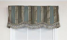 Euro Stripe Provance Valance with luscious tassel trim - Blue