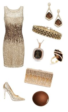 """Gold Fever!"" by colourmepretti ❤ liked on Polyvore featuring Adrianna Papell, Steve Madden, Dsquared2, Alexis Bittar, Nephora, Palm Beach Jewelry, NARS Cosmetics and Miadora"