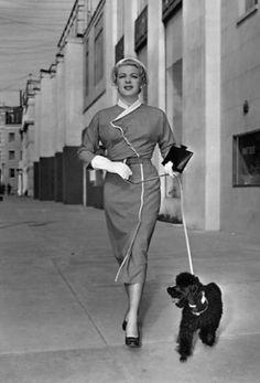 Lana Turner, 1947, with her black toy poodle.   #converttoblack