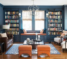Transitional Living Room by Cory Connor Designs --  Built-in bookshelves and trim are painted in a striking Newburyport Blue. To keep the dark color from feeling oppressive, the designer left the ceiling white and used wallpaper, as well as paint, on the walls.    http://www.houzz.com/ideabooks/21771349/list/room-of-the-day-deep-blue-proves-a-hot-hue