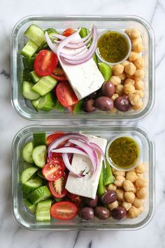 Greek Chickpea Salad 2019 Greek Chickpea Salad made with chickpeas cucumbers tomatoes bell peppers olives and Feta is perfect to make ahead for lunch for the week! The post Greek Chickpea Salad 2019 appeared first on Lunch Diy. Healthy Meal Prep, Healthy Cooking, Healthy Snacks, Healthy Eating, Cooking Recipes, Healthy Recipes, Lunch Snacks, Keto Recipes, Veggie Lunch Ideas