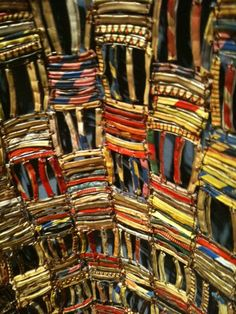 "El Anatsui. Detail of large ""cloth"" piece constructed of small pieces of found metal refuse."