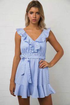 Ruffles V Neck Sleeveless High Waist Blue Striped Dress - FashionandLove.com
