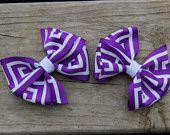 Pinwheel Hair Bow - Purple and White Geometric Print (Set of 2)