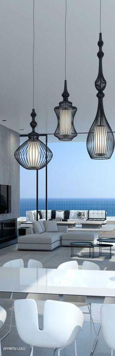 Enorm penthouse met veel wit en lak en de Alezio lampen van Goossens #woonstijl #modern