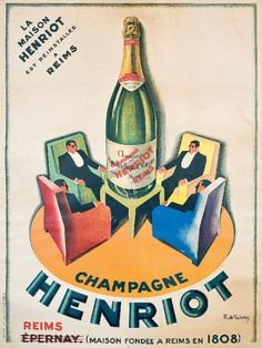champagne Henriot - Reims - vers 1930 - illustration de H. de Valerio -