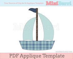 Blue Boat Applique Template PDF Applique Pattern via Etsy