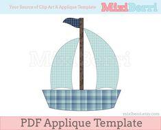 Blue Boat Applique Template PDF Applique Pattern via Etsy