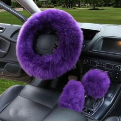 Buy Wholesale sets Winter Long Australian Wool Heated Fur Car Steering Wheel Handbrake Gear Shifter Cover - Purple from Chinese Wholesaler Car Interior Accessories, Cute Car Accessories, How To Clean Headlights, Customize Your Car, Car Steering Wheel Cover, Steering Wheels, Winter Car, Girly Car, Cute Cars