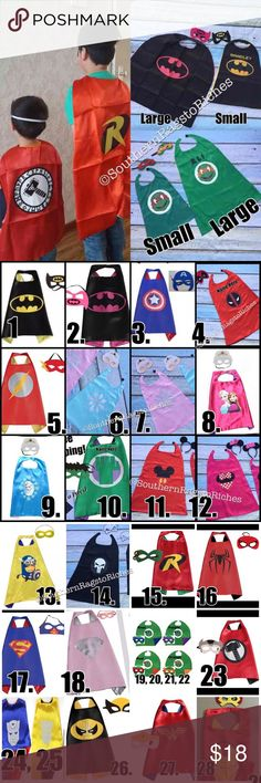 "Personalized Monogram Superhero Capes with Mask PERSONALIZED or unpersonlized Superhero Cape w/mask set  Double sided satin superhero cape measures approx 25"" from neck to bottom. Velcro closure & superhero symbol screen printed on 1 side. other side is blank  Choose from 29 styles  Personalized=$18 Non-personalized=$13 If u want non-personalized, I'll create u another listing  -can choose font or ill choose for u based on character u order.  Approx: Small: 20"" long & 18"" wide. Best for…"