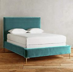 Velvet upholstery in dreamy colors softens the clean lines and cast-brass legs of this modern Teal Velvet Edlyn Bed, influenced by Italian design. $1,998-$2,298. Buy here. Related posts: Lino Teal Linen Bed Linens Aqua Chevron Riviera Stools Juliette Turquoise Tufted Bed Pagoda Blue Evie Molded Dining Chairs – Set of 2