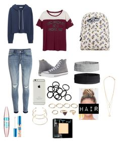 """""""Back To School #2"""" by rla099274 ❤ liked on Polyvore featuring MANGO, H&M, Converse, Vans, Forever 21 and Maybelline"""